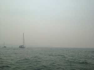 Sydney Harbour covered with smoke from bush fires, Nov 2, 2013.