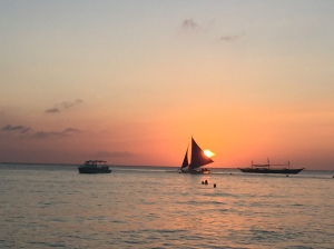 Paraw at Boracay at sunset. Photo by me